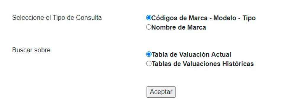 Buscar valuaciones de la dnrpa por códigos de Marca Modelo y Tipo