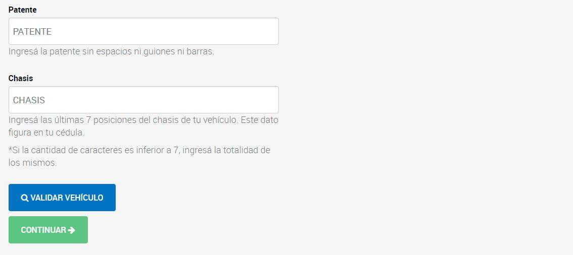 Datos de la patente y chasis registro automotor
