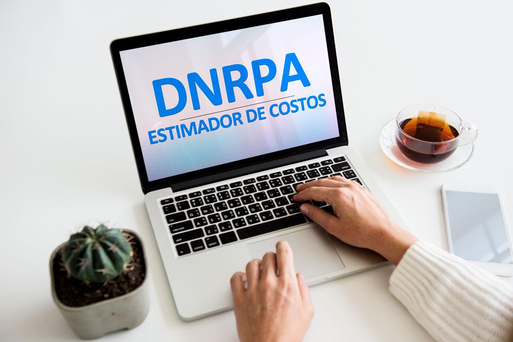 Estimador de costos de la DNRPA en una laptop