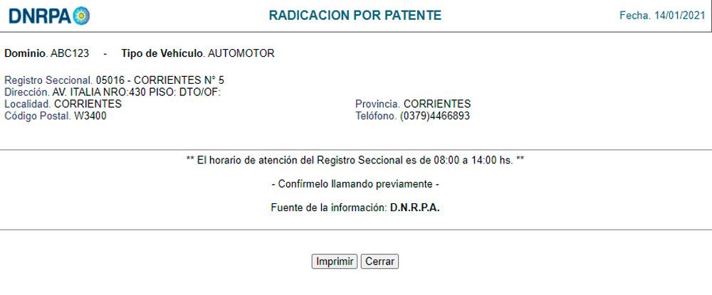 Resultado de consulta de radicación por patente DNRPA